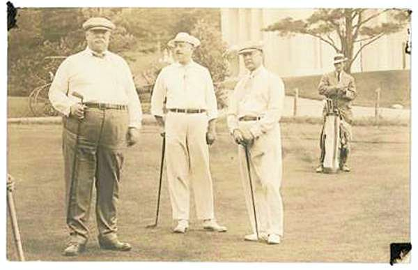 President William Howard Taft poses for a photograph with fellow golfers during a round at Kebo Valley Golf Club in Bar Harbor in 1910. This photo is from the Bar Harbor Historical Society's collection of photos of Taft's visit to Mount Desert Island 100 years ago. (Photo courtesy of Bar Harbor Historical Society)