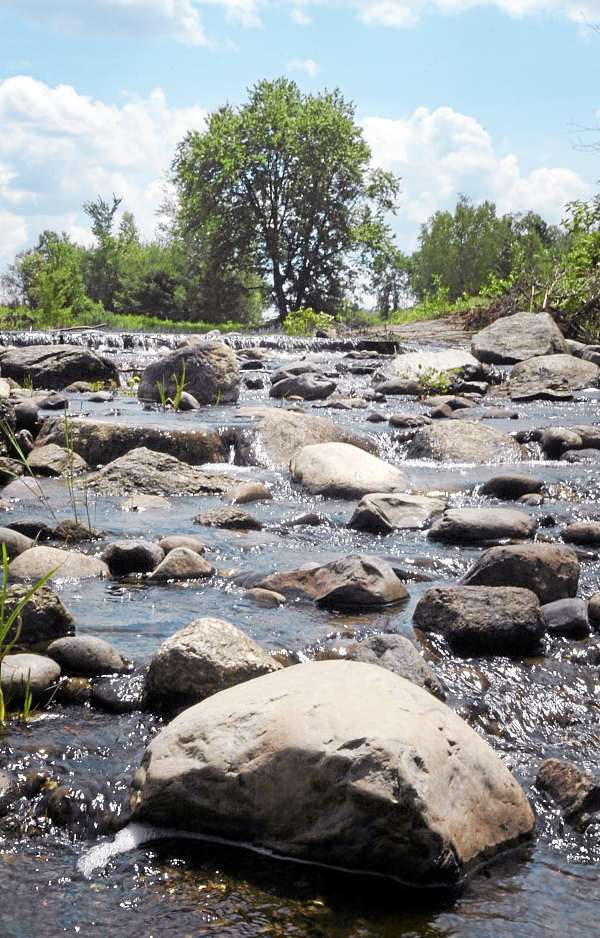The removal of two dams on the Sedgeunkedunk Stream has lead to the return of Atlantic Salmon and other spawning fish. Here a portion of the stream below the rock ramp fishway dam, which replaced the Meadow Dam in Orrington and allows fish to pass through, is seen Thursday, July 15, 2010. (Bangor Daily News/Bridget Brown)