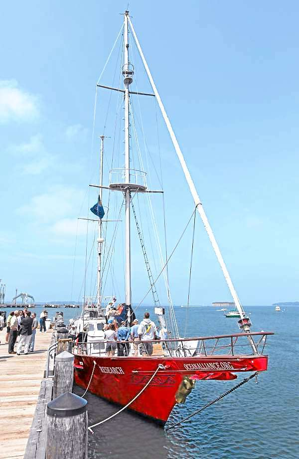 The Ocean Alliance's laboratory-equipped sailboat Odyssey is seen Friday, July 16, 2010, in South Portland, Maine.  A group from the University of Southern Maine teamed up with Ocean Alliance to collect tissue samples from whales in the Gulf of Mexico to determine what toxic substances they've been exposed to. (AP Photo/Joel Page)