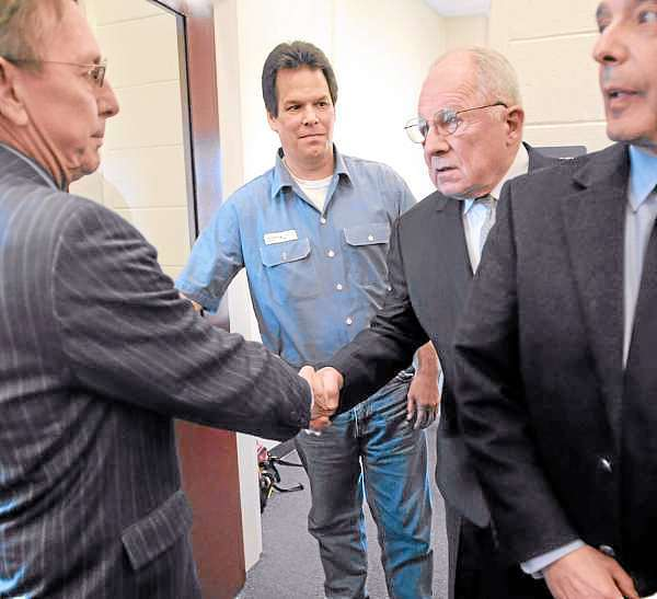 F. Lee Bailey  (BANGOR DAILY NEWS PHOTO BY GABOR DEGRE)  CAPTION  Dennis Dechaine (center left) walks out of a meeting with attorneys at the Maine State Prison in Warren Wednesday afternoon.   Dechaine met with famed deffence attorney F. Lee Bailey (center right) who agreed to be a consultant on his petition for a new trial.  He was convicted for murdering twelve-year-old Sarah Cherry of Bowdoinham in 1988.  Also pictured are Dechaine's Maine attorneys Steve Peterson (left) and John Nale.