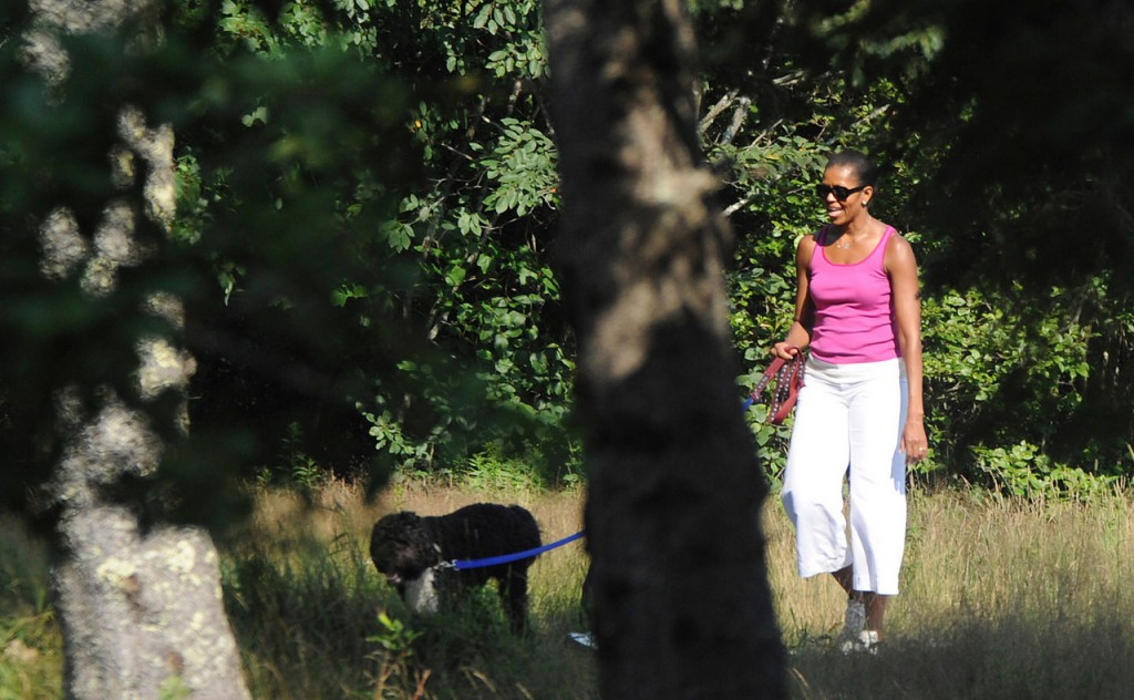 First Lady Michelle Obama walks with the family dog, Bo, on the Ship Harbor hiking trail in Acadia National Park Saturday afternoon, July 17, 2010. (Bangor Daily News/Gabor Degre)