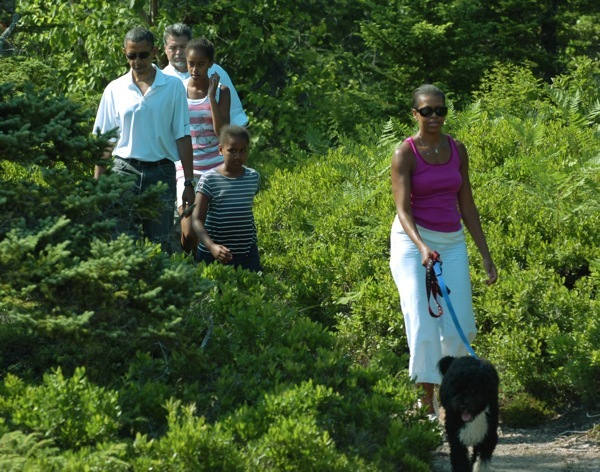 President Barack Obama and his family, daughters, Malaia and Sasha and first lady Michelle Obama along with family dog Bo walk the Ship Harbor Trail in Acadia National Park on Saturday, JUly 17, 2010.