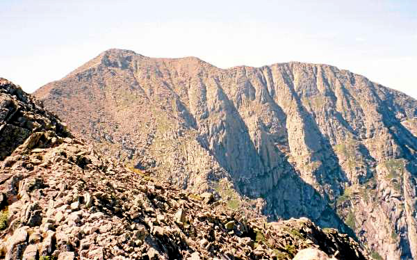 A view from Knife Edge. Baxter Peak is seen on the right. The peak on the left, which looks taller, is South Peak.  Photo Courtesy of Brad Viles/ Edscan 5/24