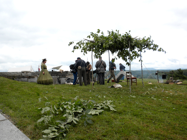 This Confederate military encampment was among several set up along a bank overlooking the Penobscot River during a three-day Civil War living history event at Fort Knox in Prospect. Buy Photo