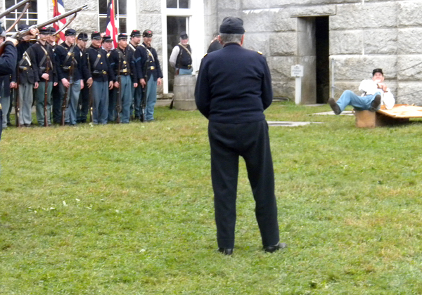 Cpl. Tim Brochu of the 20th Maine Company B is executed for desertion. Buy Photo