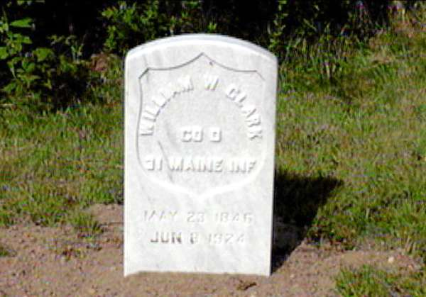 William Wallace Clark of East Machias, a Civil War veteran whose grave was recently discovered in Jonesport; his new gravestone, supplied by the U.S. Department of Defense.