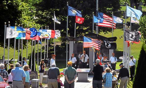 People gathered at the Maine Korean War Memorial in Bangor  on Tuesday morning, July 27, 2010 to commemorate the signing of the Korean War truce on July 27, 1953.   (Bangor Daily News/Gabor Degre)