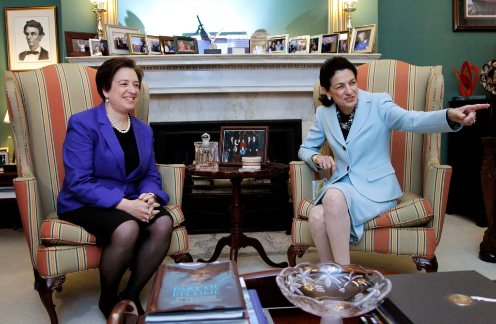 Supreme Court nominee Elena Kagan meets with Sen. Olympia Snowe, R-Maine, on Capitol Hill in Washington on Thursday.   (AP Photo/Manuel Balce Ceneta)