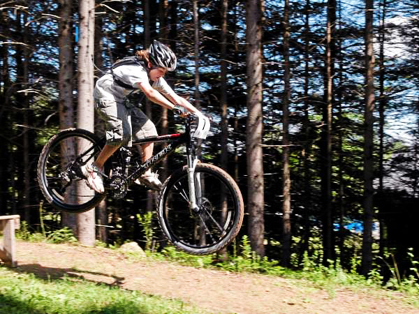 Gannon Therrien catches air during last year's dowhill race at the Fat Tire Festival. (Photo courtesy of Tom Shay)