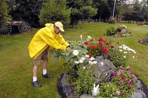 Even a rainstorm does not deter Walter Whitney from tending his elaborate backyard set of  22 flower garden &quot spots&quot at his home in Hampden. Photographed Monday, July 19, 2010. (Bangor Daily News/John Clarke Russ)