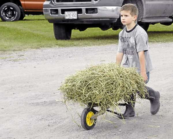 Farming and animal husbandry is hard work and 4-year-old Brody Smith of Mapleton hardly took time to slow for a photograph as he hauled hay to animals at the Old McDonald's Farm display at the Northern Maine Fair this weekend. &quotHe's used to helping out on the farm,&quot Marilee Smith, Brody's grandmother said. &quotHe's a real animal person, that one.&quot (BANGOR DAILY NEWS photo by Julia Bayly)