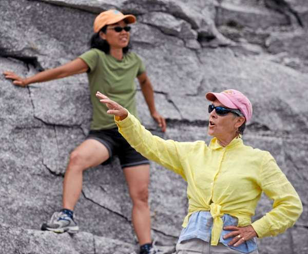 Choreographer Alison Chase, right,  of Blue Hill and Mia Kanazawa of Brooksville oversee a rehearsal for &quotQ2&quot at Settlement Quarry in Stonington Thursday afternoon, July 22, 2010. (Bangor Daily News/John Clarke Russ)