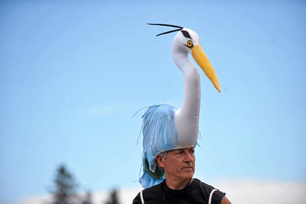 Attired as a blue heron, Felix Blaska watches fellow cast members rehearse a scene for &quotQ2&quot at Settlement Quarry in Stonington Thursday afternoon, July 22, 2010. (Bangor Daily News/John Clarke Russ)