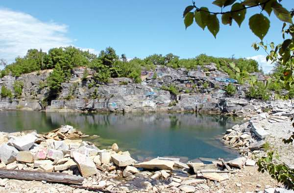 The Mt. Waldo Quarry is seen on Sunday, Aug. 1, 2010, a popular swimming hole where a woman died Saturday. Amy Willey, 39, of Bucksport was killed when she jumped from a ledge and failed to resurface. (Bangor Daily News/Bridget Brown)  (WEB EDITION ONLY)