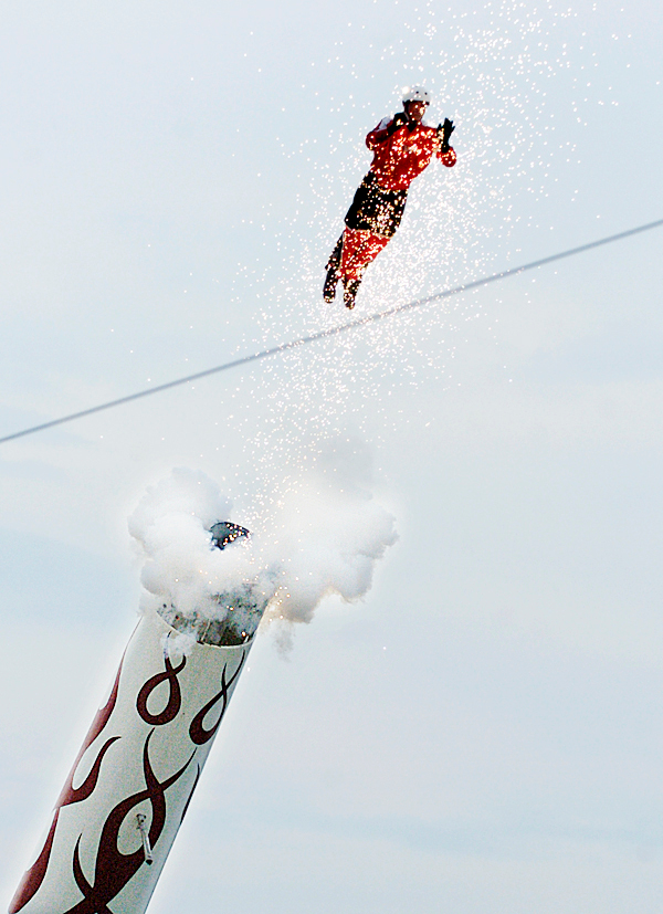David Smith Jr. , a.k.a. &quotThe Bullett&quot lived up to his nickname as he was launched from his cannon at the Bangor State Fair early Tuesday evening. &quot I know what the dangers are and I think about them until they are gone,&quot said Smith of his work as a human cannonball. (Bangor Daily News/John Clarke Russ)