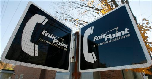 FILE - In this Oct. 26, 2009 file photo, FairPoint Communications Inc. signs are seen in Montpelier, Vt. FairPoiont Communications may ask a federal court to overturn state regulators' rejection of its reorganization plan as northern New England's dominant landline phone company tries to emerge from bankruptcy. (AP Photo/Toby Talbot, File)