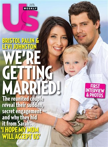 In this magazine cover image released by Us Weekly, Bristol Palin, daughter of 2008 Republican vice-presidential candidate and former Alaska Gov. Sarah Palin, poses with Levi Johnston and their son Tripp on the cover of the July 26, 2010 issue of &quotUs Weekly&quot magazine.  (AP Photo/Us Weekly)
