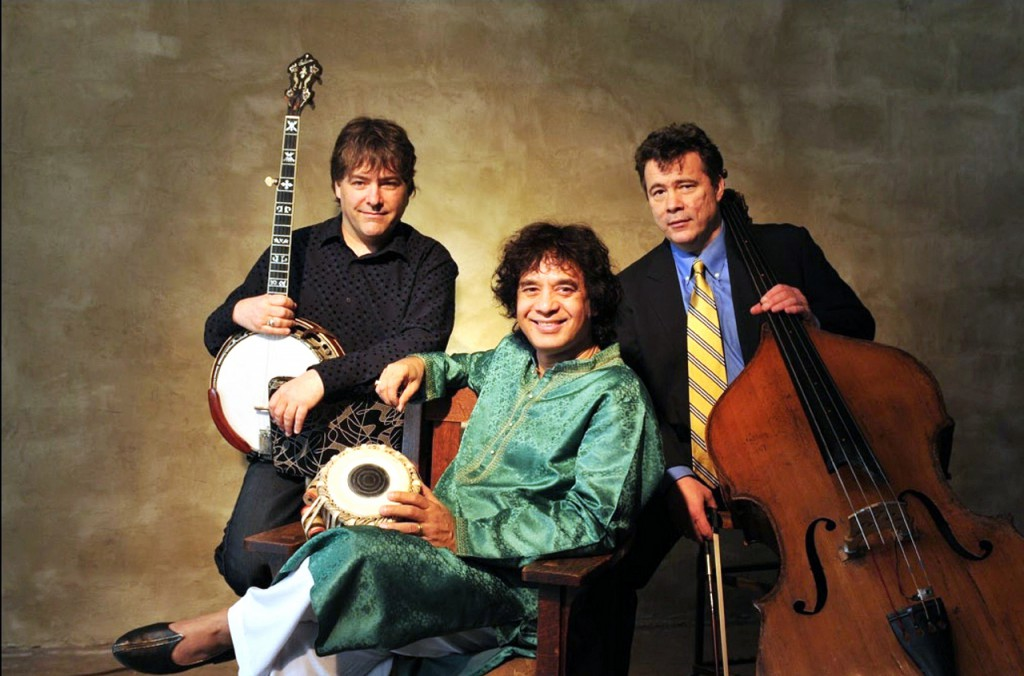 Bela Fleck (from left), Zakir Hussein and Edgar Meyer will perform 7:30 p.m., Tuesday, Aug. 10 at The Grand in Ellsworth.