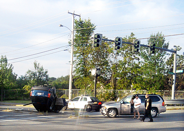 The scene of an accident at State and N. Main streets in Brewer, Sunday August 7, 2010,  PHOTO COURTESY OF DAN WARD