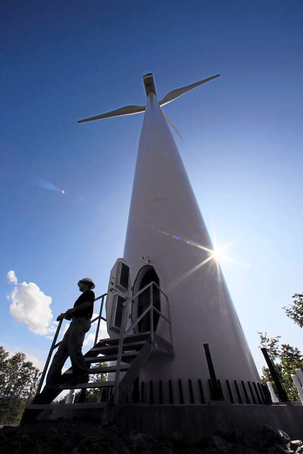 STETSON MOUNTAIN WIND PROJECT   Andy Doak, assistant operations manager of the Stetson Mountain wind project, exits a 300-foot tall windmill after making a monthly inspection, in Township 8, Range 3 recently. (AP Photo/Robert F. Bukaty)