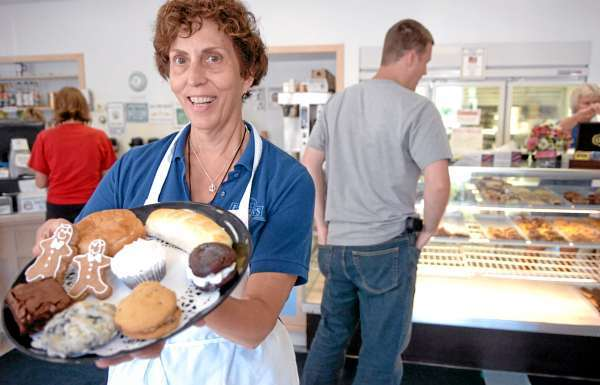 (BANGOR DAILY NEWS PHOTO BY BRIDGET BROWN)    CAPTION    &quotEverybody comes in and says 'thank you', &quot said co-owner Bernadette Gaspar about the gluten-free products she offers including those she displays at Frank's Bake Shop in Bangor on Friday, Aug. 6, 2010. (Bangor Daily News/Bridget Brown)