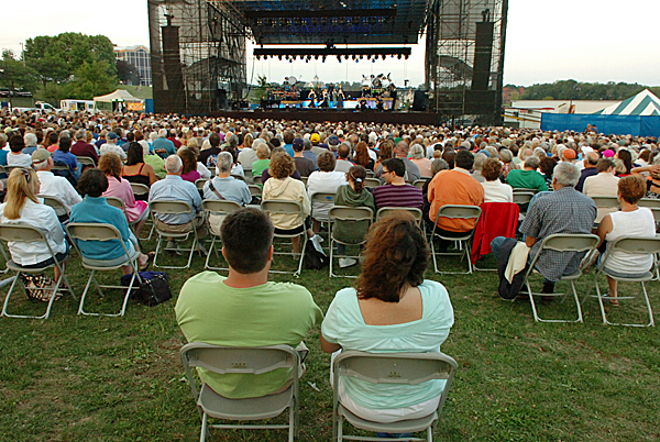 A crowd of 3,000 watches as Celtic Woman performs on the Bangor Waterfront on Wednesday, July 28, 2010 as part of the Hollywood Slots Waterfront Concert Series. (Bangor Daily News/Bridget Brown)