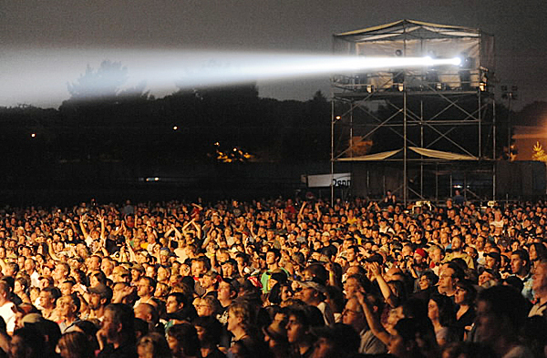 Thousands of fans listen to Lynyrd Skynyrd as the band played their finale song &quotFree Bird&quot on Bangor's waterfront Thursday night, August 5, 2010. (Bangor Daily News/John Clarke Russ)