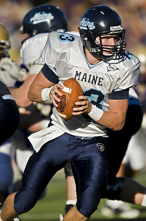 Maine quarterback Warren Smith in second quarter action against James Madison in an NCAA college football game at Bridgeforth Stadium in Harrisonburg, Va., on Saturday, Nov. 7, 2009. JMU won the game 22-14. (AP Photo/Daily News-Record, Pete Marovich)