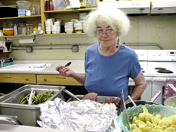 Barbara Horgan, the manager of the Belfast Soup Kitchen, is paid to work there 30 hours a week but often puts in 50 hours. &quotMost people who come in here are just wicked, wicked nice,&quot she said Thursday, Aug. 12 after supervising lunch. BANGOR DAILY NEWS PHOTO ABIGAIL CURTIS