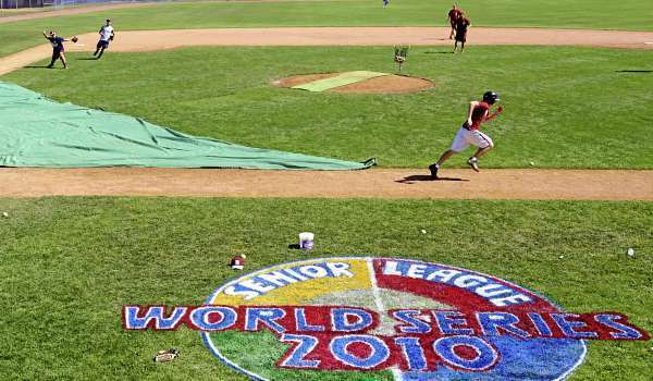 The Bangor team practices at the Mansfield Stadium in preparation for the 2010 Senior League World Series in Bangor.   (Bangor Daily News/Gabor Degre)