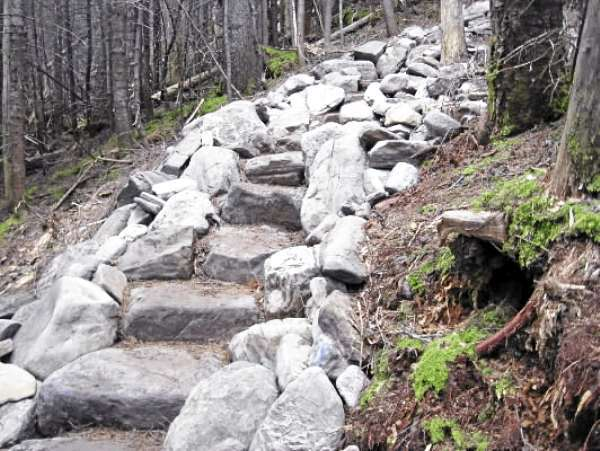 A completed stone staircase on the Appalachian Trail ascends West Peak of Whitecap Mountain. This staircase was built prior to this year in a multi-year project on the mountain to stabilize the trail from further erosion from foot traffic.