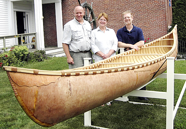 Cathy and Steven Vorpagel of Readfield, Maine, are the new owners of an authentic birchbark canoe, built at the museum last summer by master builder Steve Cayard and a team of apprentices from the Wabanaki nations. Steven Vorpagel is an avid canoe collector, and both he and Cathy are active in the Wooden Canoe Heritage Association, an international organization dedicated to preserving and using traditional canoes. While Steven had bought two raffle tickets for himself, the winning ticket was bought by Cathy with the object of giving the canoe to Steven, should she win.  STROUT