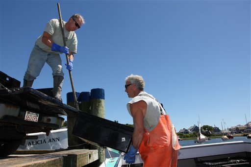 In this July 2, 2010 photo, commercial fisherman Tom Luce, left, and crew member Rick Lonergan unload containers of conch from Luce's boat, the Sea Win, in Wychmere Harbor in Harwich, Mass. Ground fishing has virtually disappeared in this small port, and new fishing rules enacted in May have fishermen at New England's major ports worried their historic fishing communities could fade away, as well. (AP Photo/Julia Cumes)