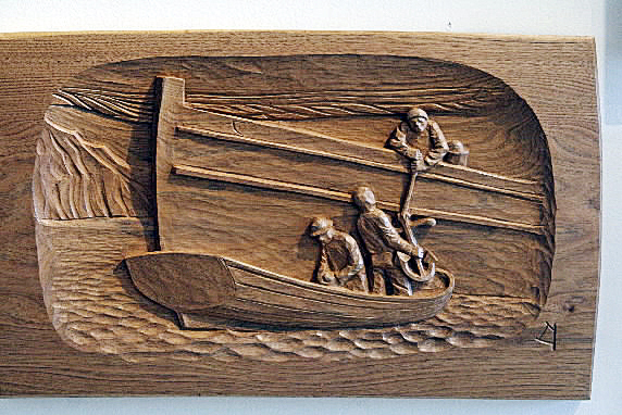 Musician and artist Gordon Bok's woodcarvings will be featured during the Friday Night Art Walk at the Parent Gallery in Belfast, Maine. Sales of the wood cuts will benefit the Sardine Extravaganza, to be held on August 21 during Belfast Harbor Fest. photo courtesy of the Parent Gallery CURTIS STORY