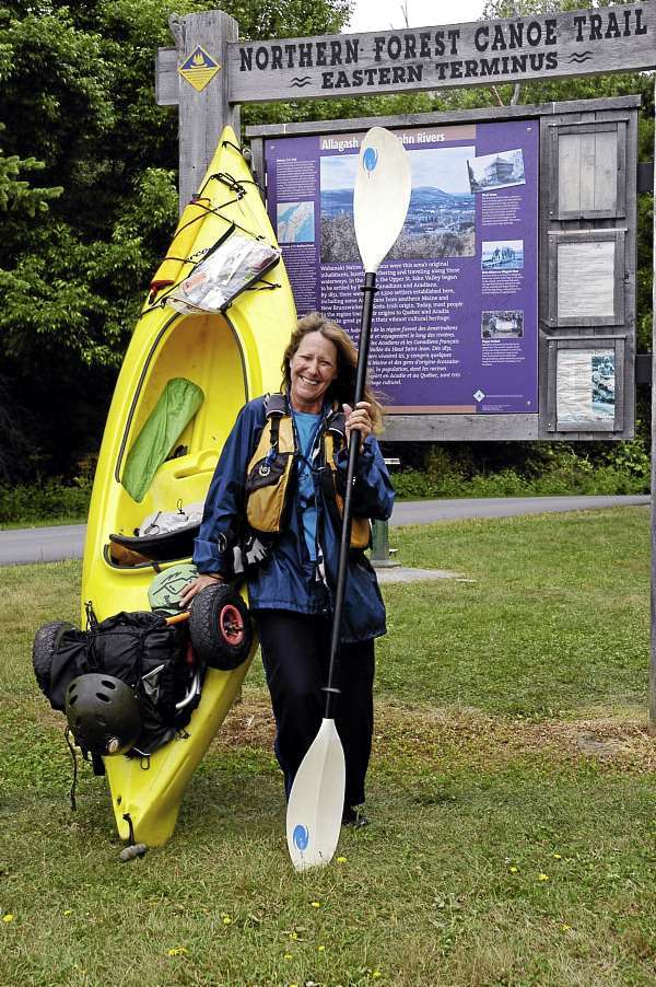 Cathy Mumford, 50, on Monday became the first woman to complete the Northern Forest Canoe Trail running from Old Forge, New York, to Fort Kent. (Photo by Julia Bayly)