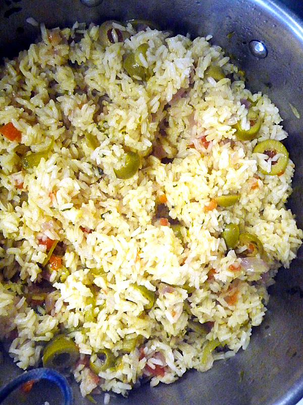 three color rice, which includes onion, cilantro and green olives. BANGOR DAILY NEWS PHOTO BY SHARON KILEY MACK