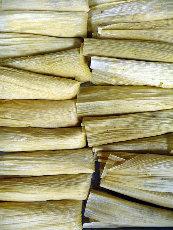 tamales ready for the steamer. BANGOR DAILY NEWS PHOTO BY SHARON KILEY MACK