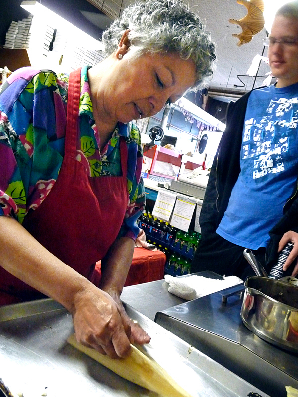 Bank Square owner Marilu Scott shapes tamales at her Eastport restaurant. BANGOR DAILY NEWS PHOTO BY SHARON KILEY MACK