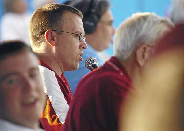 Bob Beatham of Bangor announces during his 1,500th game Tuesday, Aug. 17, 2010 at Mansfield Stadium. Beatham received a new chair Tuesday in honor of the milestone. (Bangor Daily News/Bridget Brown)