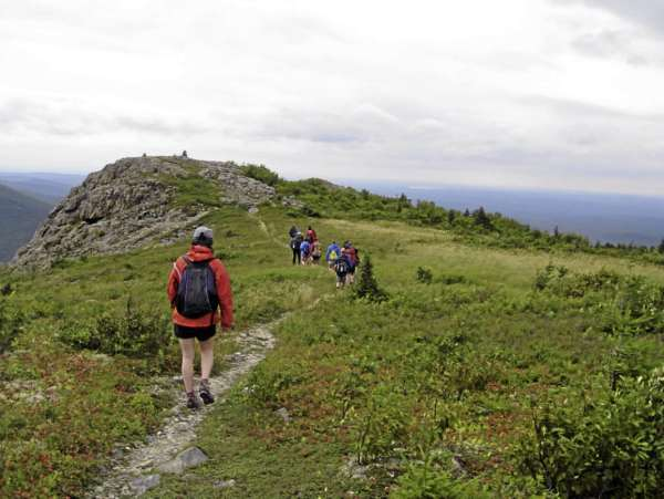 The students in the Maine Youth Wilderness Program leave the top of North Traveler Mountain. BRAD VILES 8/21/10