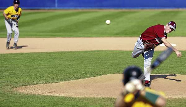 District Three closing pitcher Luke Hetterman, (5), delivers to the last batter in the seventh inning of the Senior League World Series game versus Team West at Mansfield Stadium , Bangor, Friday, August 20, 2010. Bangor Daily News/Michael C. York