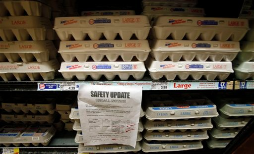 A sign warns customers of the recall of certain lots of eggs that had been previously sold at a supermarket in Los Angeles Thursday, Aug. 19, 2010.  A salmonella outbreak that sickened hundreds and led to the recall of hundreds of millions of eggs from one Iowa firm will likely grow, federal health officials said Thursday.   (AP Photo/Reed Saxon)