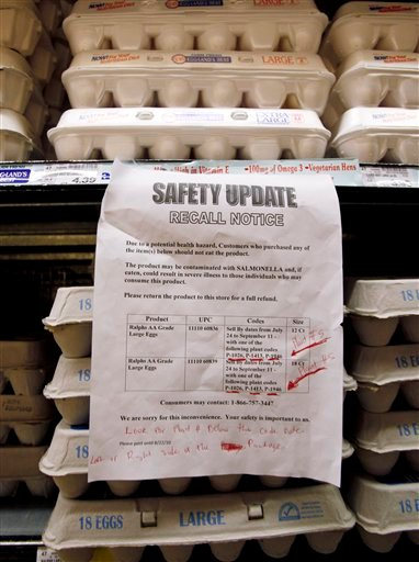 A sign warns customers of the recall of certain lots of eggs that had been previously sold at a supermarket in Los Angeles Thursday, Aug. 19, 2010.  A salmonella outbreak that sickened hundreds and led to the recall of hundreds of millions of eggs from one Iowa firm will likely grow, federal health officials said Thursday.  No eggs currently on the shelf at this store were affected by the recall.  (AP Photo/Reed Saxon)