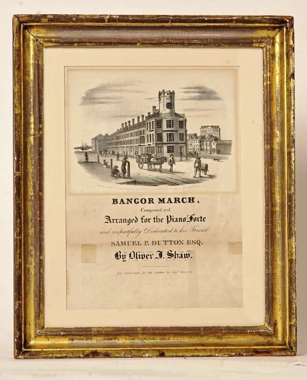 David Slagger of Kenduskeag recently bought a sketch in a gilded frame showing part of the Bangor House. He discovered that the sketch is attached to a rare copy of sheet music for a piano composition called &quotBangor March.&quot  Buy Photo