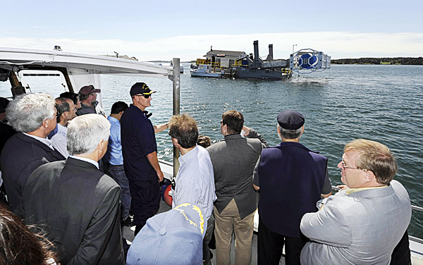 Tuesday boat trip to show Maine dignitaries the turbine projec in Cobscook Bay. Photo: courtesy of Luke Clayton/ U.S.C.G.