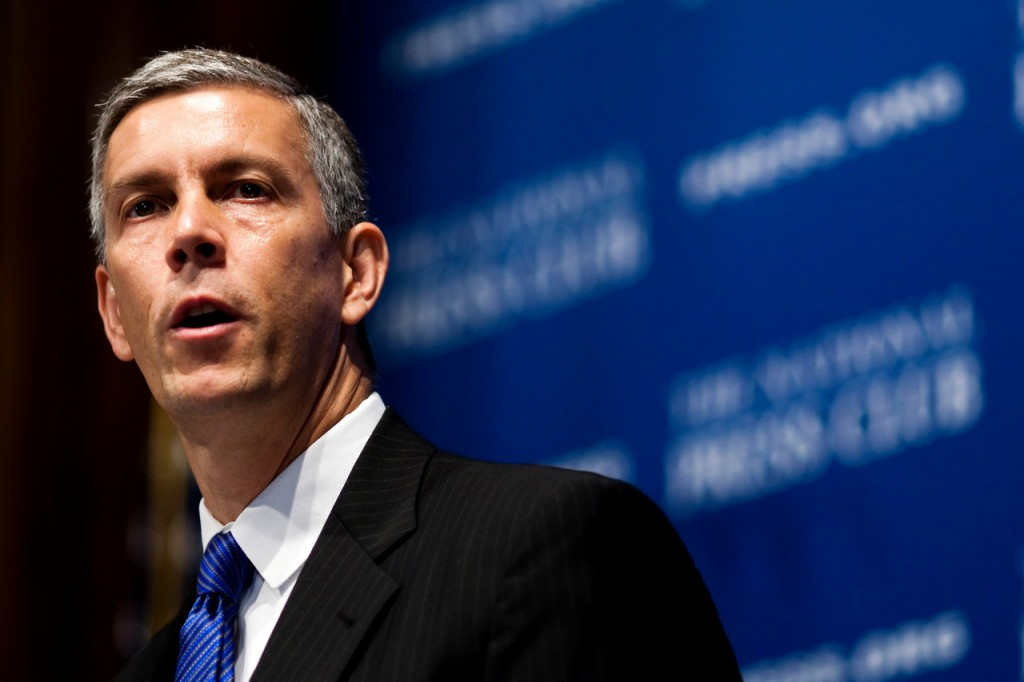 Education Secretary Arne Duncan speaks about the federal &quotRace to the Top&quot school reform grant competition, Tuesday, July 27, 2010, at the National Press Club in Washington. (AP Photo/Drew Angerer)