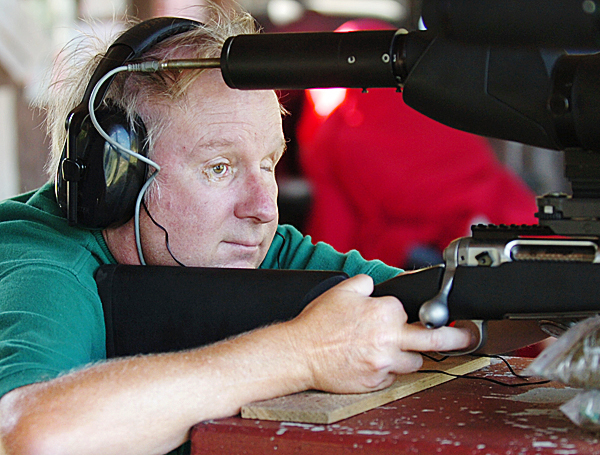 &quotI can't go back, I gotta go forward,&quot James &quotJim&quot Miekka of Surry said of while target shooting at the Orrington Rod & Gun Club on Tuesday, Aug. 24, 2010. (Bangor Daily News/Bridget Brown)