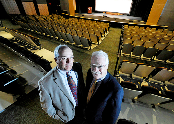 Stephen Rich, left, WBRC President/CEO and John Rohman, WBRC chairman, in the Gracie Theater at Husson University Campus August 17, 2010. The Gracie Theater is one of the many large projects the Bangor-based architectural and engineering firm has undertaken in its hundred-plus year history. (Bangor Daily News/John Clarke Russ)