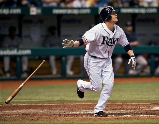 Tampa Bay Rays' Dan Johnson watches his game-winning leadoff home run off Boston Red Sox reliever Scott Atchison during the 10th inning of a baseball game Saturday night, Aug. 28, 2010, in St. Petersburg, Fla. The Rays defeated the Red Sox 3-2. (AP Photo/Steve Nesius)