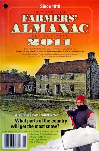 The 2011 Farmers' Almanac is seen Thursday, Aug. 26, 2010, in Lewiston, Maine. (AP Photo/Robert F. Bukaty)